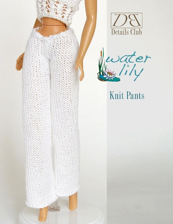 Knitting pattern for 11 1/2 doll Barbie: Knit Pants
