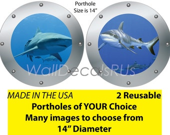 Shark Wall Decals, Porthole Window, Shark Wall Mural, Ocean Wall Decals, Nautical Wall Decals, Wall Graphics, Fish Decals, O15O19