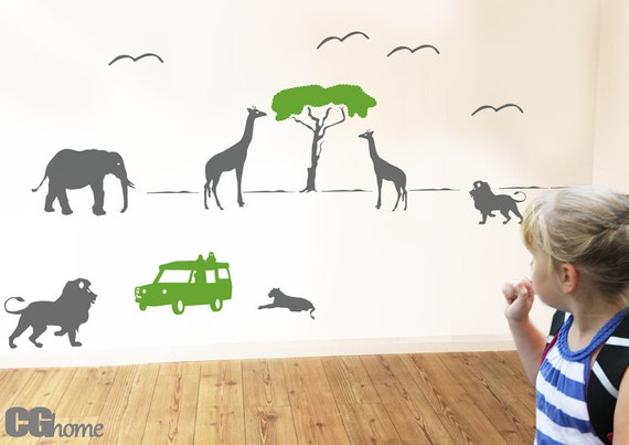 SAFARI giraffe elephant lion TANZANIA wall DECAL vinyl sticker architecture CGhome