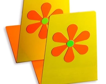 Vintage Mod Flower Power Bookends (Yellow, Orange and Green)
