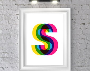 PERSONALISED 3D letter art print, initials, name poster, typography art, monogram, motivational, inspirational, love present A3 A4