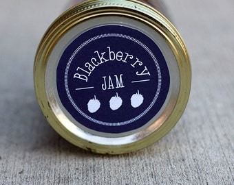 Mason jar label for blackberry jam- 2.5 inch diameter | Blackberry canning jar label