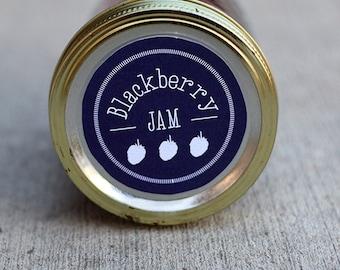 Mason jar label for blackberry jam- 2.5 inch diameter | Blackberry canning jar label