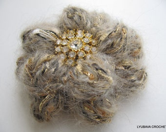 Crochet Mohair Flower Brooch - Gift For Her - Crochet Jewelry - Women's Crochet Gift - Mohair Fiber - Unique Crafts - Hand Crocheted Item