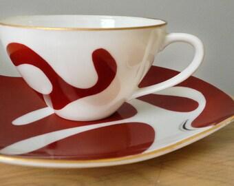 Vintage Cup and Saucer Porcelain Retro Atomic