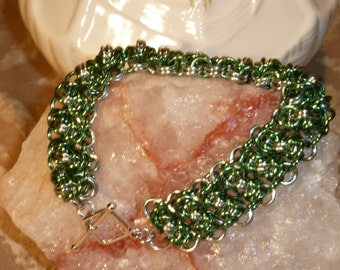 Handwoven Double Green Stacked Byzantine Bracelet and Earrings