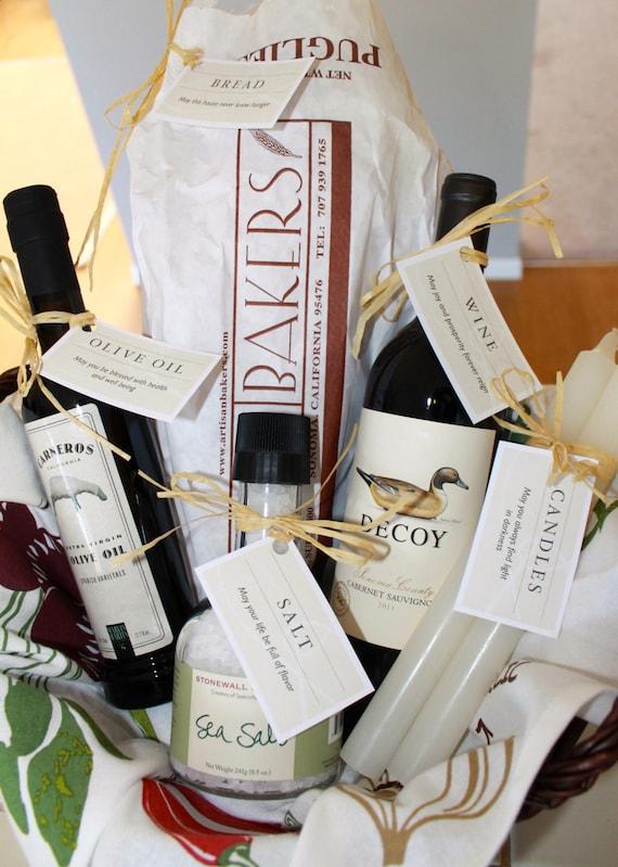 Classic housewarming gift basket tags thanksgiving for Classic housewarming gifts