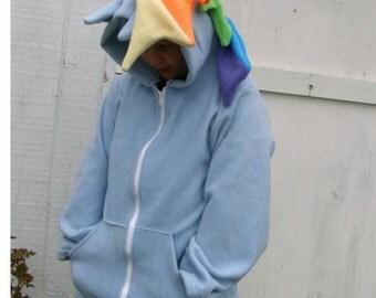 Deluxe My Little Pony Cosplay plush Hoodie Jacket Rainbow Dash MLP FIM