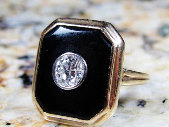 antique onyx deco ring 0 46ct european cut
