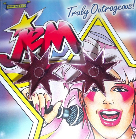 Jem And The Holograms Hot Pink Mirrored Star Stud Earrings