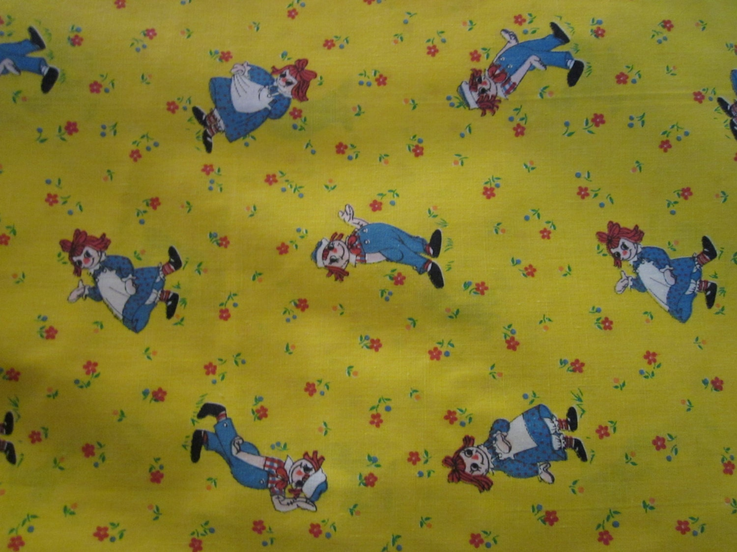 Vintage raggedy ann andy fabric yellow calico baby nursery for Yellow nursery fabric