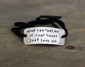 """handstamped memorial bracelet, """"when you feel me in your heart just look up"""", memorial jewelry, baby memorial"""