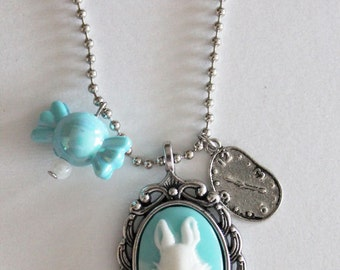 Necklace silvered color with cabochon rabbit and earrings Alice