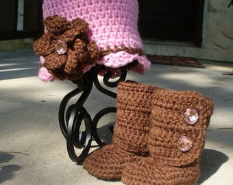 Chocolate Brown and Pink Crochet Beanie and Booot Set/Baby Shower Gift/Photography Prop