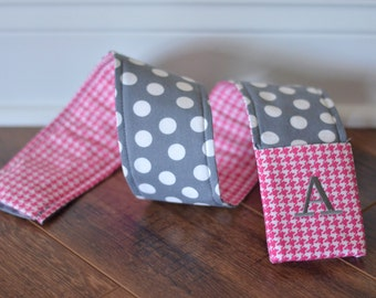 Camera Strap Cover with monogrammed lens cap pocket (Pink Houndstooth/Grey Polka Dot)