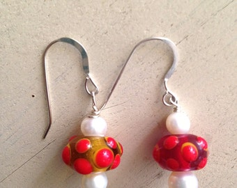 Red and Amber Glass Bead and Freshwater Pearl Earrings