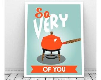 Fondue Pot, Instant Download Art, Retro Kitchen Art, Funny Kitchen Art, Kitchen Artwork, Mid Century Modern, Romantic Art Fondue Party