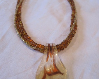 Beaded Necklace of Browns and Golds with Glass Pendant