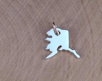 Alaska Charm, Alaska Pendant, Alaska Stamping Blank, Sterling Silver Alaska Stamping Blank, Sterling Silver Charm, TINY, PS01111
