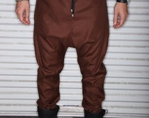 Brown / Chocolate / Coffee Fabric - Mens Joggers or  Drop Crotch / Harem Pants - Tailored Street Fashion