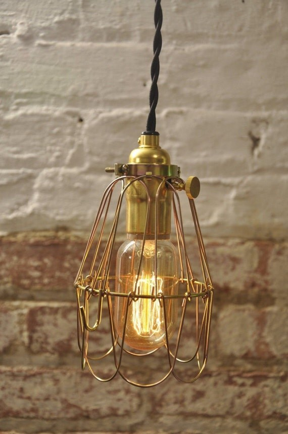 brass on off switch bulb guard lamp light cage pendant hanging. Black Bedroom Furniture Sets. Home Design Ideas