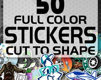 50 Custom Vinyl Stickers - Promotional Stickers - Choose your shape - Laminated Stickers - Not Paper Stickers