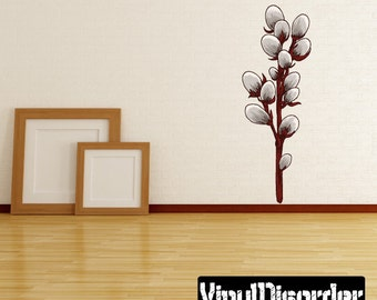 Blossom Branch Scroll Wall Decal - Wall Fabric - Vinyl Decal - Removable and Reusable - BlossomBranchUScolor006ET