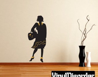 Fashion Girl Wall Decal - Wall Fabric - Vinyl Decal - Removable and Reusable - FahionGirlUScolor029ET