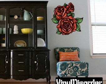 Floral Flower Rose Wall Decal - Wall Fabric - Vinyl Decal - Removable and Reusable - FloralFlowerUScolor021ET