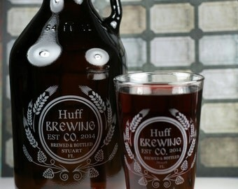 Home Brew Growler & Pint Glass/es with  Modern Hops and Wheat Design. Homebrew, Beer, Beer Gift, fathers day gift,custom pint