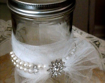 Ivory/White Tulle-Wrapped 24 oz. Wide-Mouthed Mason Jar