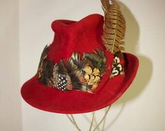 HAT-ADOLFO Incredible Vintage Authentic Designer 1970's ADOLFO  Red Wool & Feathers Fedora Hat Fantastic Condition Rare WildRosesVintage