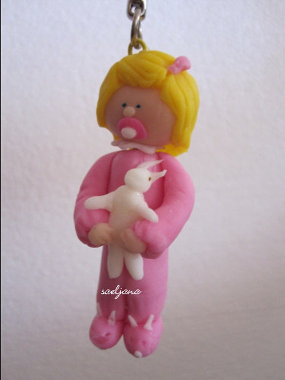 Pink little girl & rabbit - KEY RING - Cold Porcelain .Bag, schoolbag, ornement