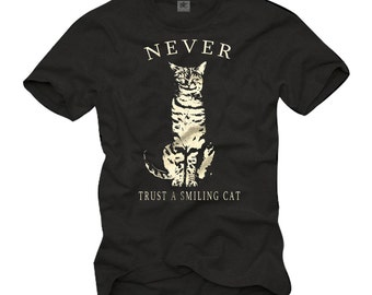 "Funny Geek T-Shirt for Mens ""Never Trus A Smiling Cat"" Black S-XXXL"