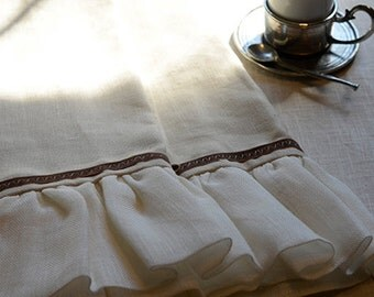 """Custom Natural Linen Kitchen or Guest Bath Towel: Monticello Collection Ruffle Towel, 19.5"""" w X 28"""" l"""