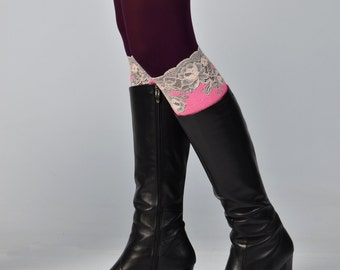 Neon pink lace womens boot socks boot cuff womens boot socks cream lace boot topper knee high boot socks cowboy boots