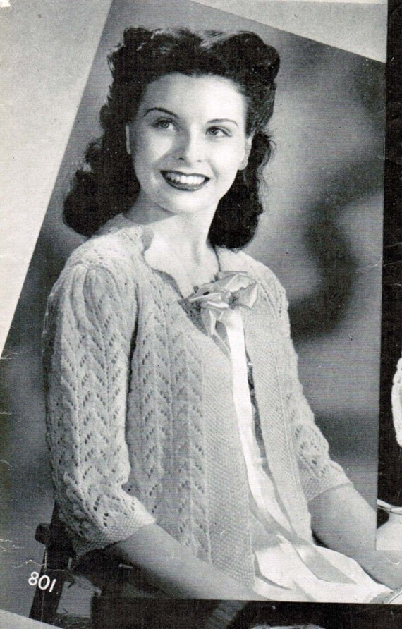 Knitting Pattern For A Bed Jacket : Womens Lacy Bed Jacket Knitting Pattern PDF / Size Medium