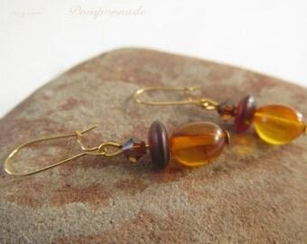 2704 - Earrings Amber and Swarovski