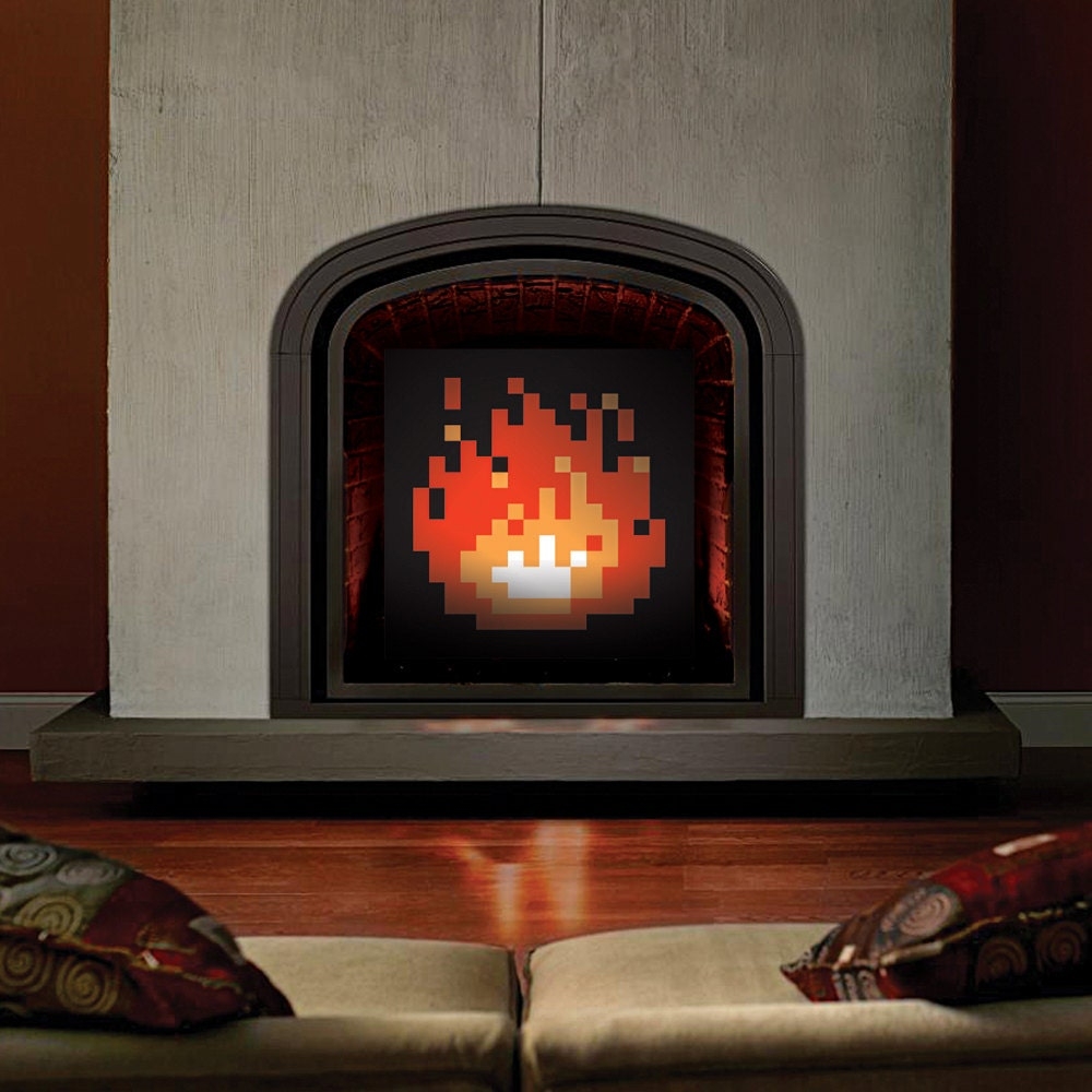 original 8 bit fireplace pixel fireplace zelda fireplace