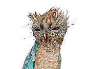 Owl art print - No. 100 - Watercolor and ink Archival Owl Print in Subtle Peaceful Serene Winter Fall Colors Aqua Blue Brown Amber 5x7