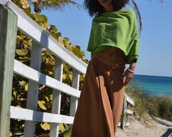 The Long Fleece Wrap Skirt in Organic Hemp Fleece. Made to order.