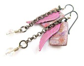 Love & Grace - Wing Inspirational Dangle Earrings - Altered Metal Polymer Clay Mixed Media Boho Hippie - Pink Gunmetal Silver