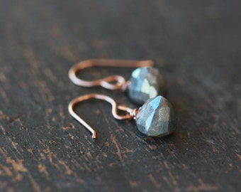 Labradorite Pyramid Gemstone Earrings, 14k Rose Gold Filled, Triangle Earrings, Sparkly Gem Earrings, Iridescent Gemstone, Handmade Jewelry