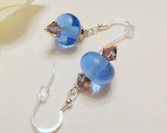 Dangle Earring, Blue Lampwork Beads and Rosaline Gold Swarovski Crystals, Smokeylady54