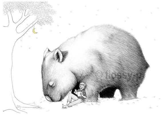 Giant Wombat & Boy, Art Print. Drawing by flossy-p. Australian. Australia Day.