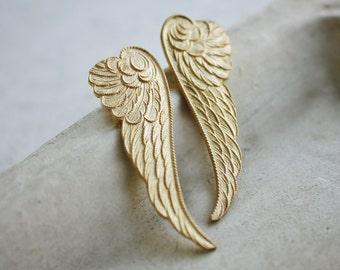 wing earrings, angel wing, bird wing feather, vintage brass, post earrings