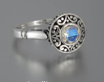 size 8.5 Ready to Ship The SECRET DELIGHT silver ring with Moonstone and white sapphires