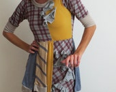 SALE Dress Spicy Toast crazy kooky dress sleeves yellow plaid bustle small fall