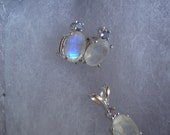 Rainbow Moonstone Earrings or Pendant  7x5mm, 1 ct,  faceted oval with Tanzanite ethical - sterling silver June birthstone - made in USA