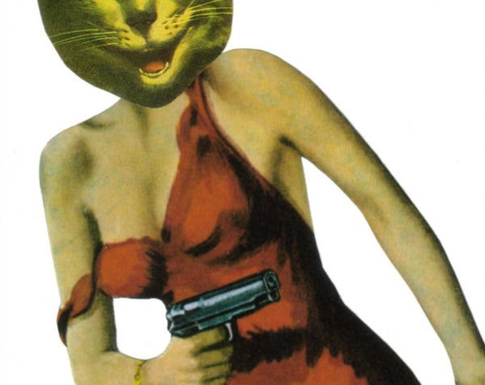 Crazy Cat Lady, Funny Feline Artwork, Original Collage Art